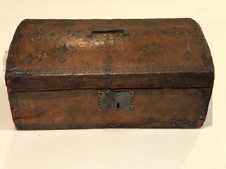 """18th century leather Document Box stamped with the George Rex """"Royal Cipher and Crown."""""""