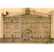 1819 pen & ink drawing of the Bergen County Court House.
