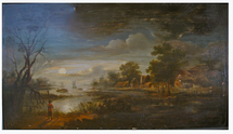 Dutch moonlit scene of a hamlet on a river