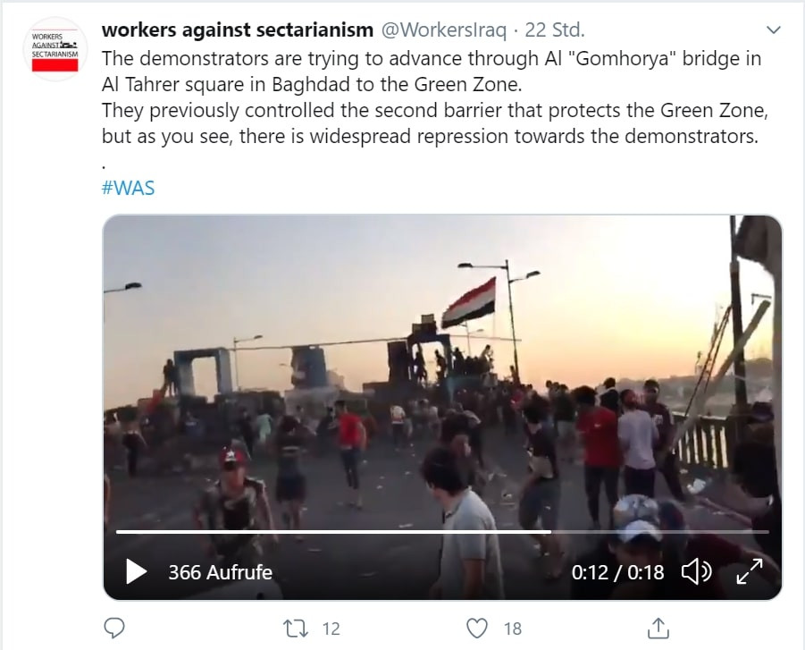 Screenshot von Twitter-Tweet, Video von laufenden Protestierenden auf einer Brücke bei Sonnenuntergang