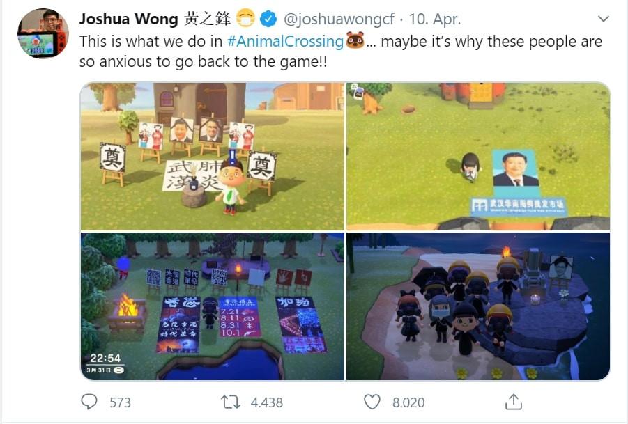 Joshua Wongs Tweet mit mehreren Bilder der virtuellen Proteste im Spiel Animal Crossing