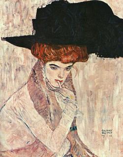 The Black Feather Hat - Klimt Tablosu