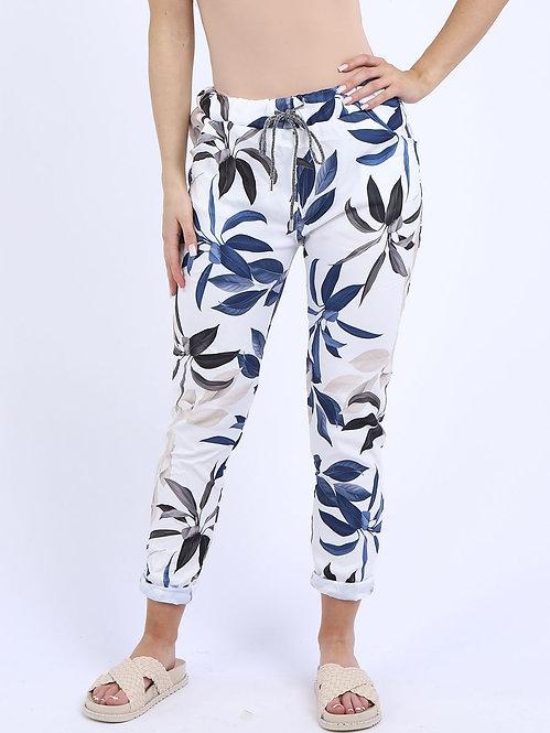 Italian Tropical Leaf Print Magic Trousers
