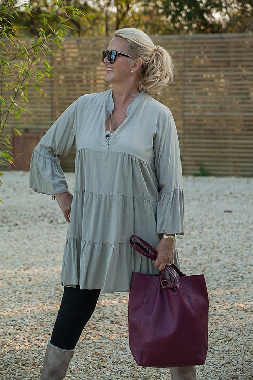 Suzy'c Tiered Tunic in Light Taupe