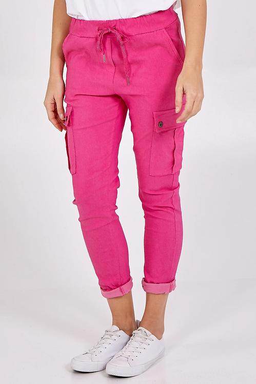 Magic Super Stretch Cargo `Trousers in Hot Pink