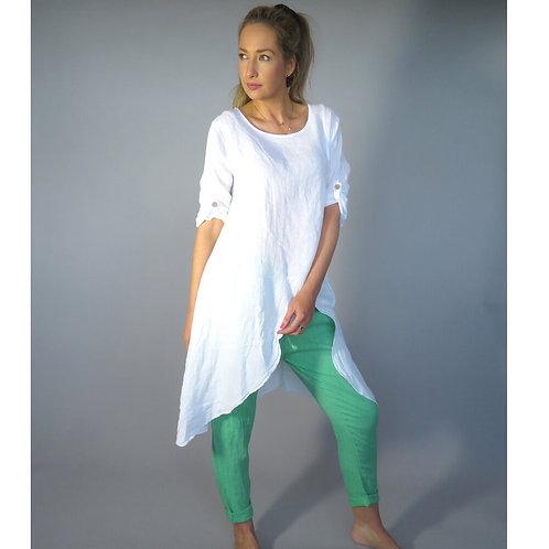 D.E.C.K  Sliding Linen Tunic in White