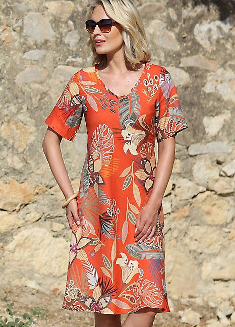 Pomodoro Desert Short Sleeve Dress in Mango