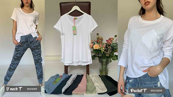 N and Willow V Neck short sleeve T in pastel colours.