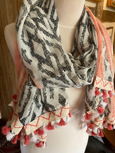 A Lovely Long Scarf with a modern print and Tassels