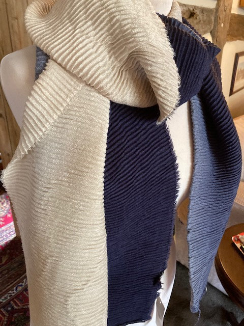 A Lovely big long Scarf in Beige and Blue