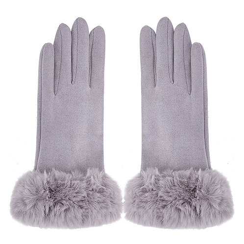grey Gloves with Faux Fur