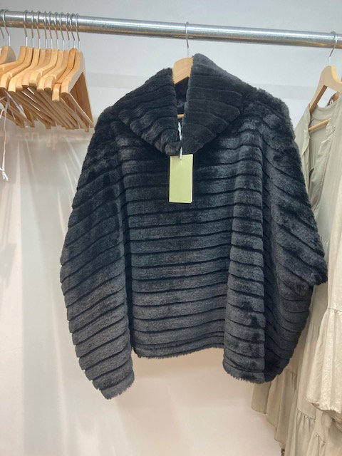 Poncho in Black with Cowl Neck