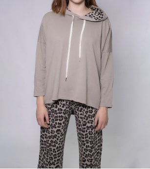 N and Willow Abstract Hoodie in Fango