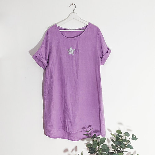 Casual linen dress with little silver star in Lilac