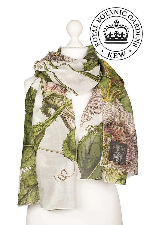 One Hundred Stars Passion Flower Scarf in Ivory