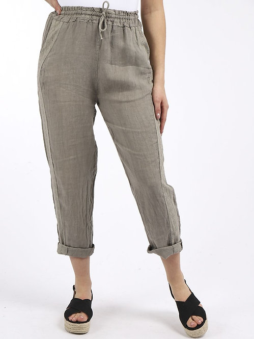 Embroidered Side Panel Linen Trousers