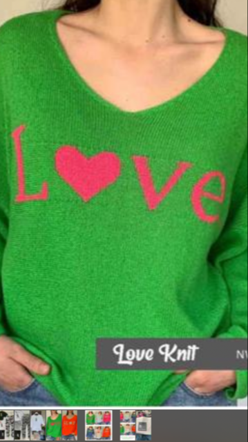 N and Willow  LOVE sweater in Green