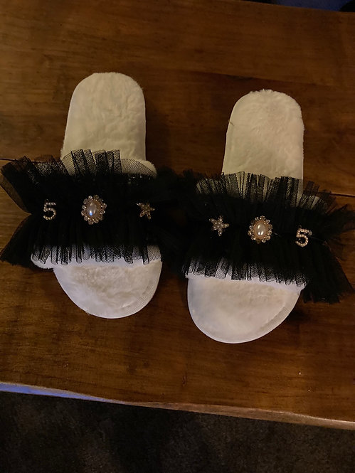 A Beautiful Pair of BlackLace Slippers