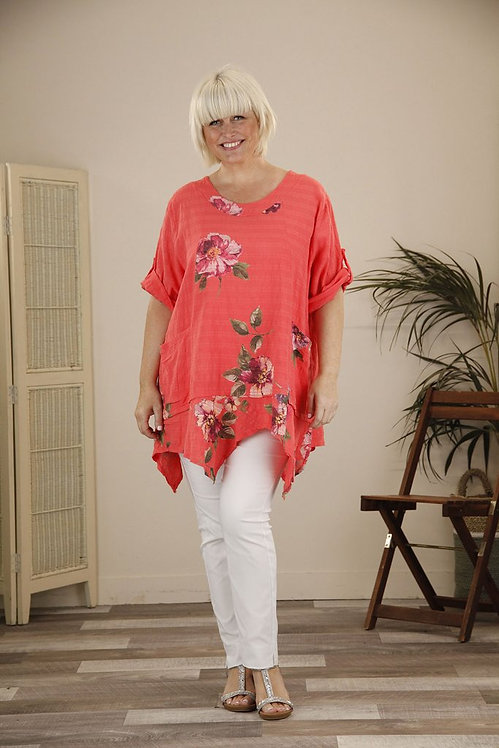 Flower Print Cotton Tunic in Coral