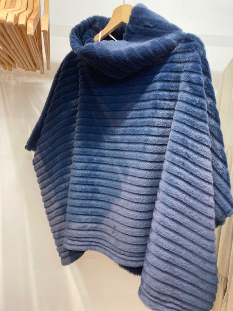 Poncho in Navy Blue with Cowl Neck
