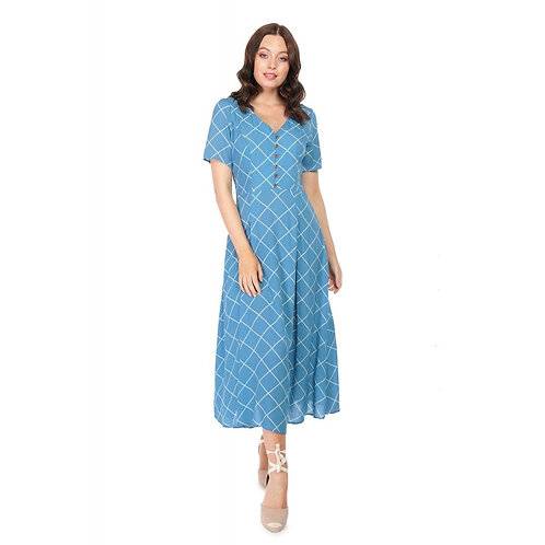 Collectif Daisy Harlequin Dress in Blue