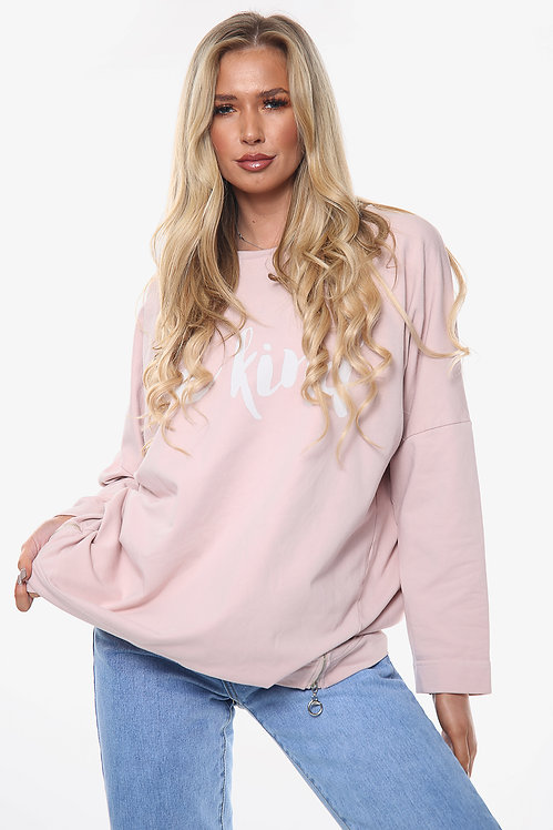 Ladies 'Be Kind' Graphic Tunic Top Dusty Pink