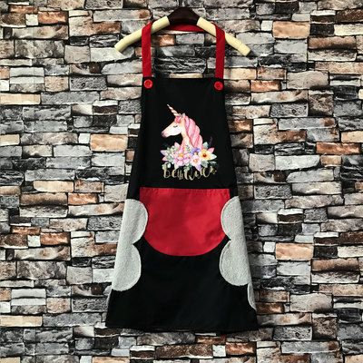 Unicorn Apron in black and Red