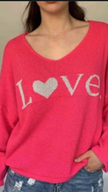 N and Willow Love Sweater in cerise