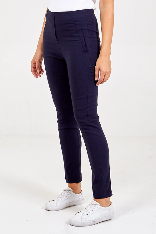 Curve XL Label Stretch Trousers in navy