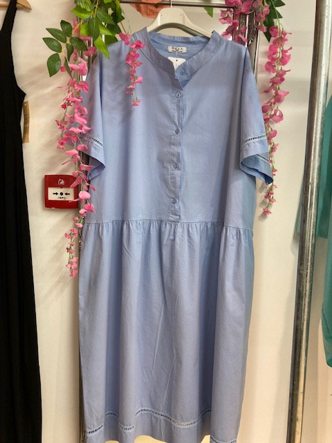 D.E.C.K Crisp Cotton Dress in Sky Blue