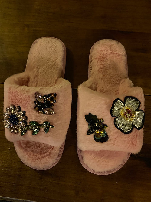 Beautiful Pink Jewelled Slippers