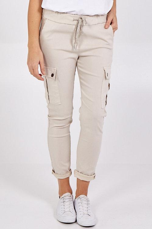 Super Stretch Combo Trousers in Beige