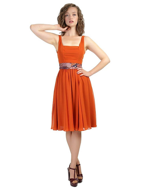 Collectif Orange Chiffon Dress size 10