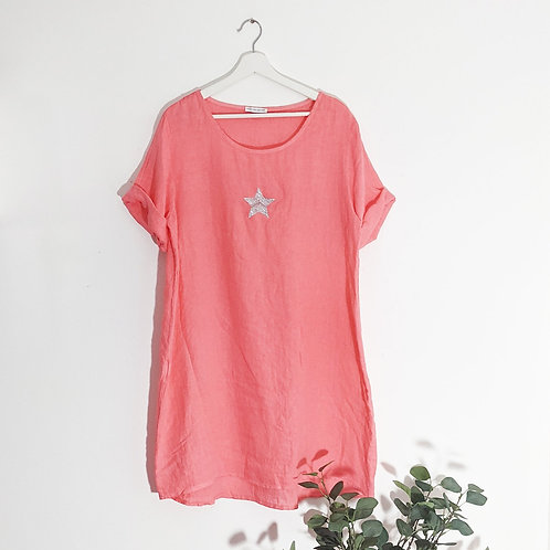 Casual linen dress with little silver star in Coral