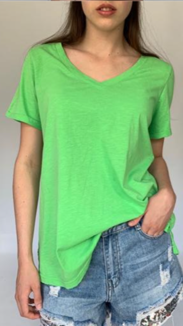 Cotton V neck Tee Shirt. in Apple Green