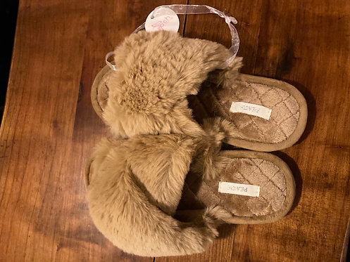 A Beautiful Paif of Fluffy Caramel Slippers