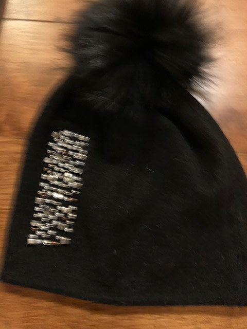 A LovelyWarm Wooly Hat with crystal front