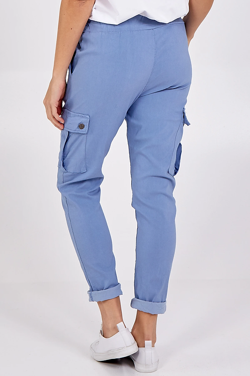 Magic Super Stretch Cargo Trousers in Denim Blue