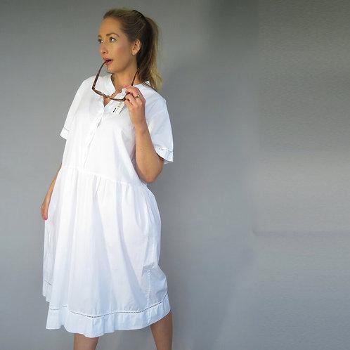 D.E.C.K.Crisp Cotton Dress in White