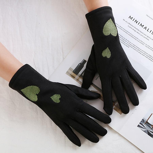Black wool smooth finish gloves with green hearts