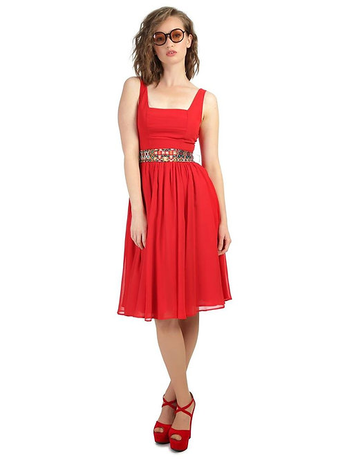Collectif Red Dress with Band tie waist separate size 10