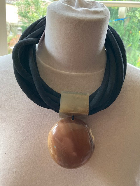 Large Resin Necklace with two coloured sides.