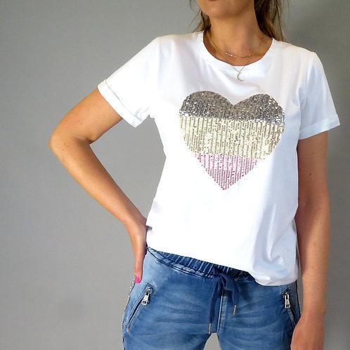 DeckT Shirt with Sequin Heart
