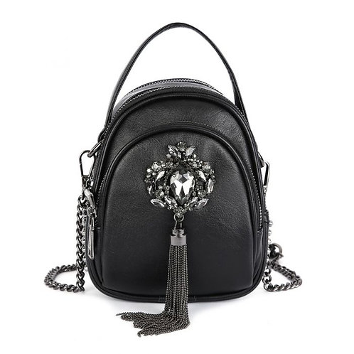 A Lovely Leather Black Jewelled adorned Handbag