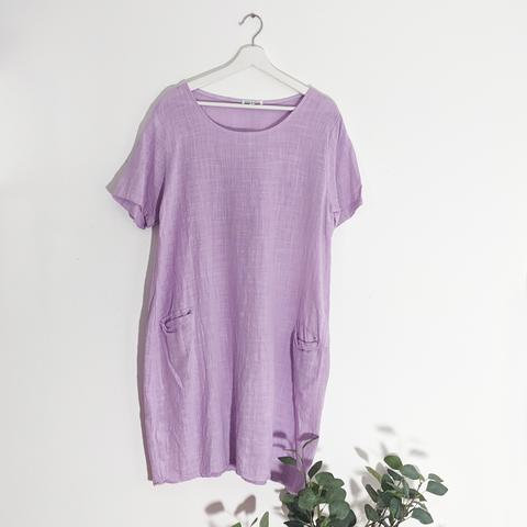 CLASSIC LINEN DRESS WITH FRONT POCKETS