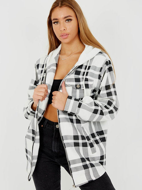 Checked Zip Shirt in black and White