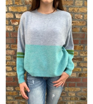 N and Willow Sweater in Turquoise and Grey