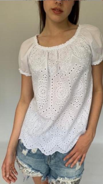 Cotton Bardot Top in White