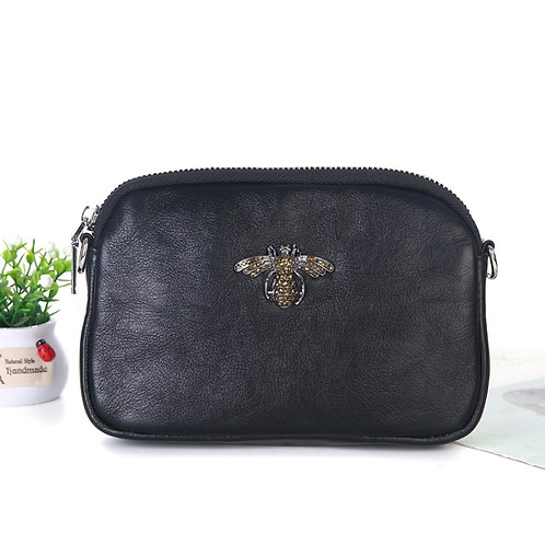 Crystal Bee black leather pouch