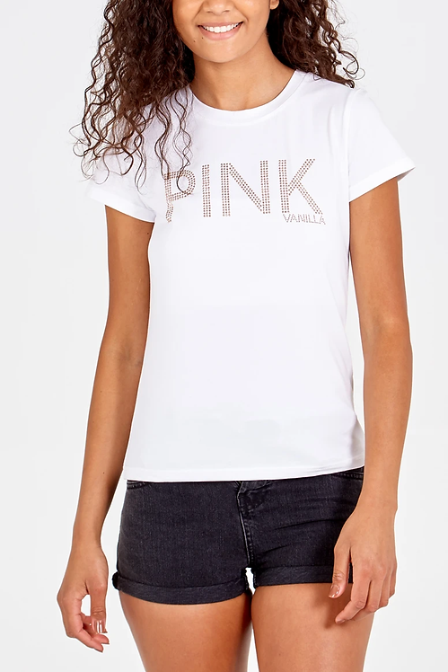 A  T.shirt with the word PINK in crystals
